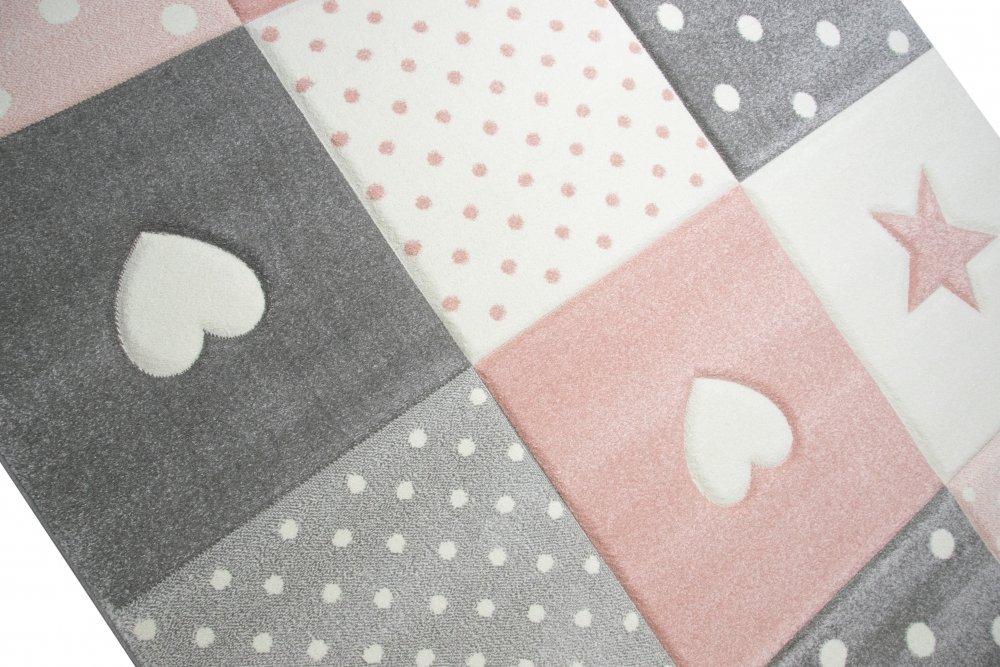 hearts stars rosa barnmatta. Black Bedroom Furniture Sets. Home Design Ideas
